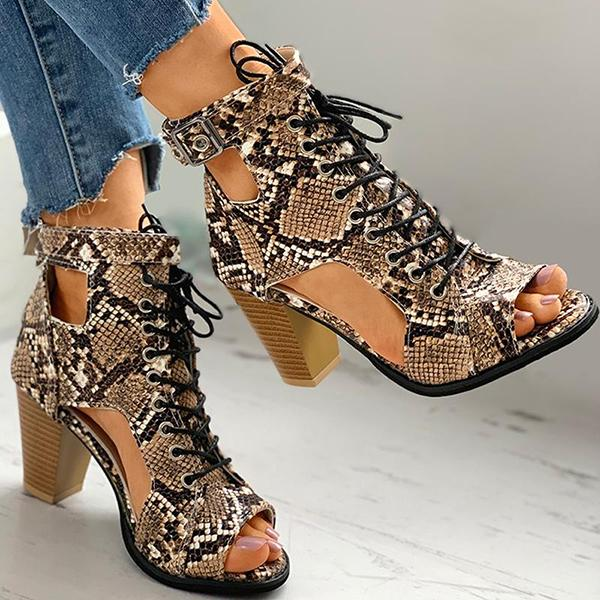Valuedshoes Snakeskin Eyelet Lace Up Cutout Chunky Heels