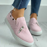 Valuedshoes Eyelet Zipper Design Slip On Sneakers