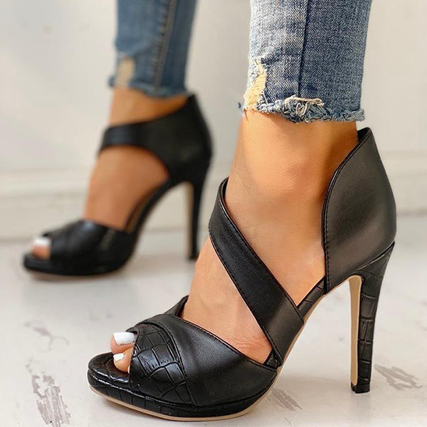 Valuedshoes Peep Toe Cut Out Thin Heels