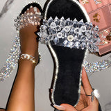 Valuedshoes Luxury Trips Crystal Flat Heel Slippers