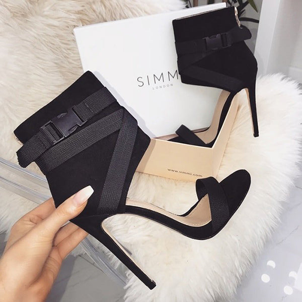 Valuedshoes Spandex Buckle Stiletto Heels