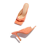 Valuedshoes Chic Thong Strap Suqare Toe Slip On Heels