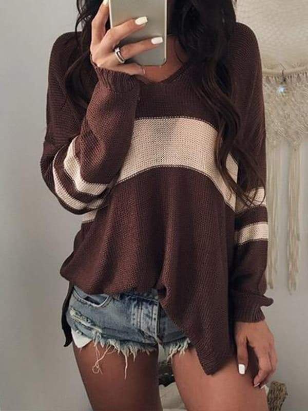 Valuedshoes Sexy V-neck Knitting Sweater
