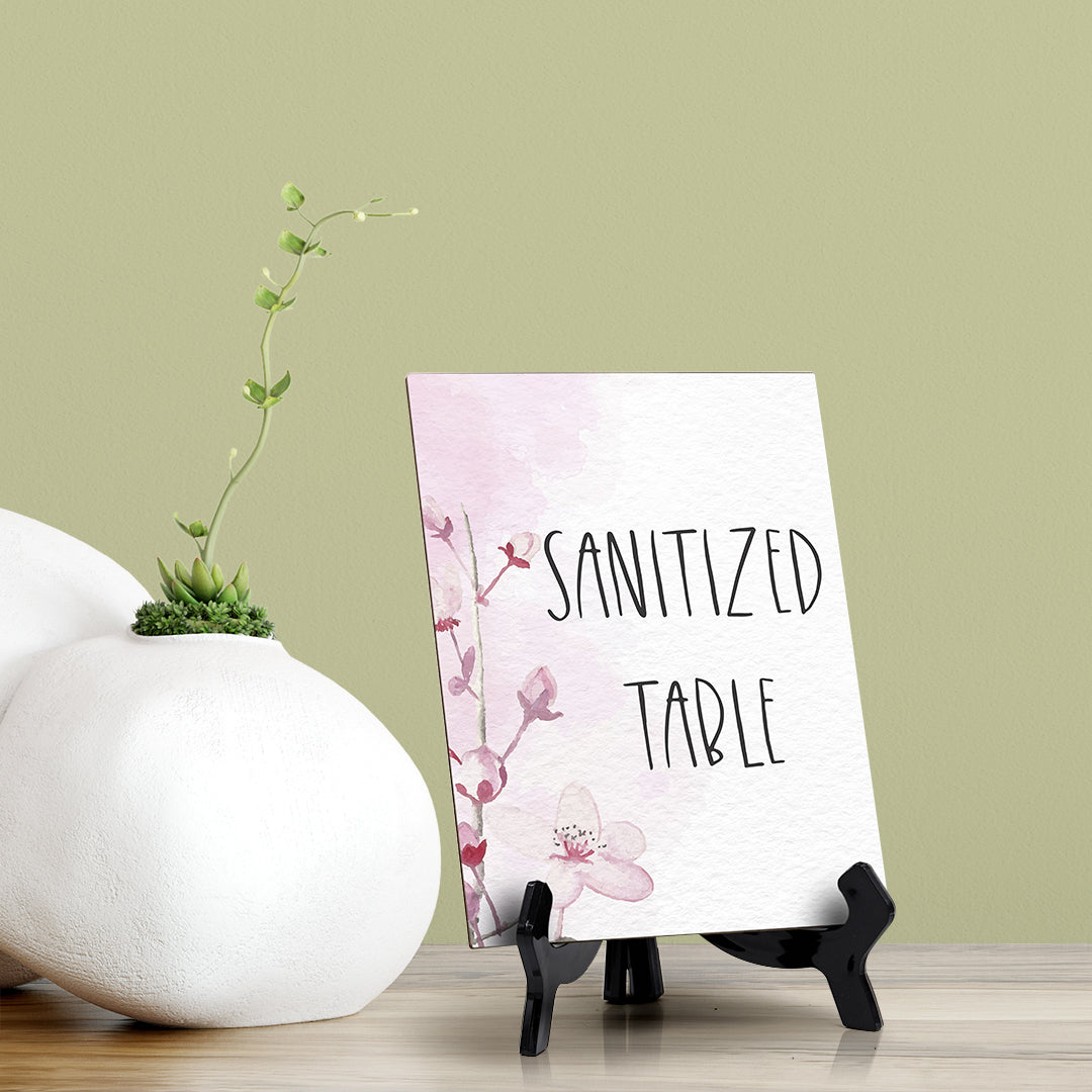 "Sanitized Table Table Sign with Easel, Floral Vine Design (6 x 8"")"