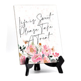 "Life is Sweet Please Take A Treat Table Sign, Floral Watercolor Design (6 x 8"")"