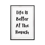 Life Is Better At The Ranch UNFRAMED Print Horse Lover Wall Art