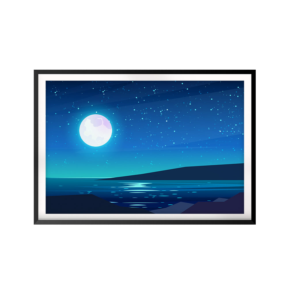 Full Moon Reflection UNFRAMED Print Scenary Wall Art