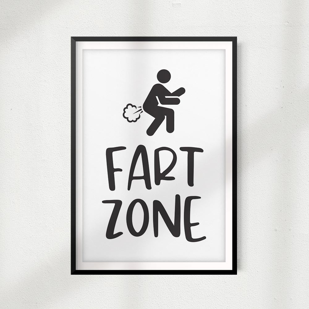 Fart Zone UNFRAMED Print Bathroom Home Décor, Pet Lover Gift, Quote Wall Art
