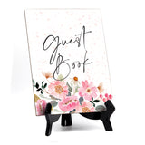 "Guest Book Table Sign, Floral Watercolor Design (6 x 8"")"