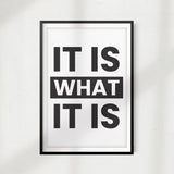 It Is What It Is UNFRAMED Print Home Décor, Quote Wall Art