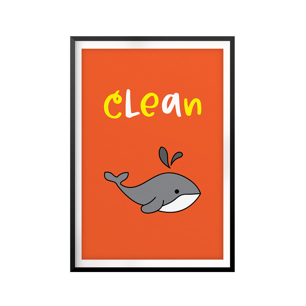Clean UNFRAMED Print Kids Bathroom Wall Art