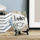 "Ladies ""Hand Pointing Right"" Table Sign with Green Leaves Design (6 x 8"")"