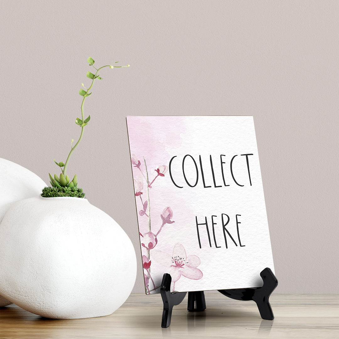 "Collect Here Table Sign with Easel, Floral Vine Design (6 x 8"")"