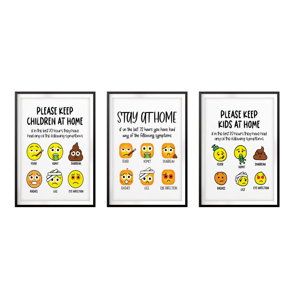 Please Keep Kids At Home Emoji Wall Art UNFRAMED Print (3 Pack)