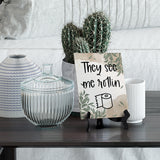 "They See Me Rollin Table Sign with Green Leaves Design (6 x 8"")"