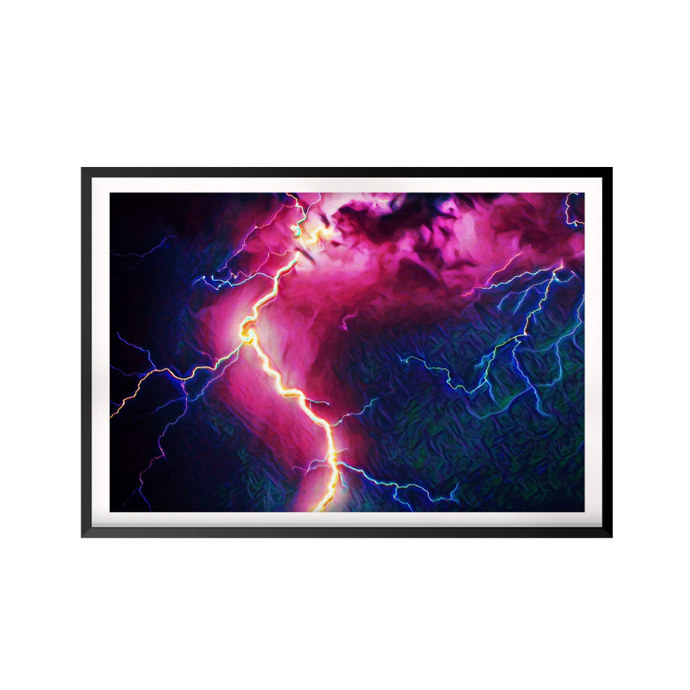 Lightening UNFRAMED Print Nature Wall Art
