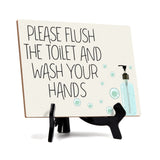 "Signs ByLITA Please Flush The Toilet And Wash Your Hands, Hygiene Sign, 6"" x 8"""