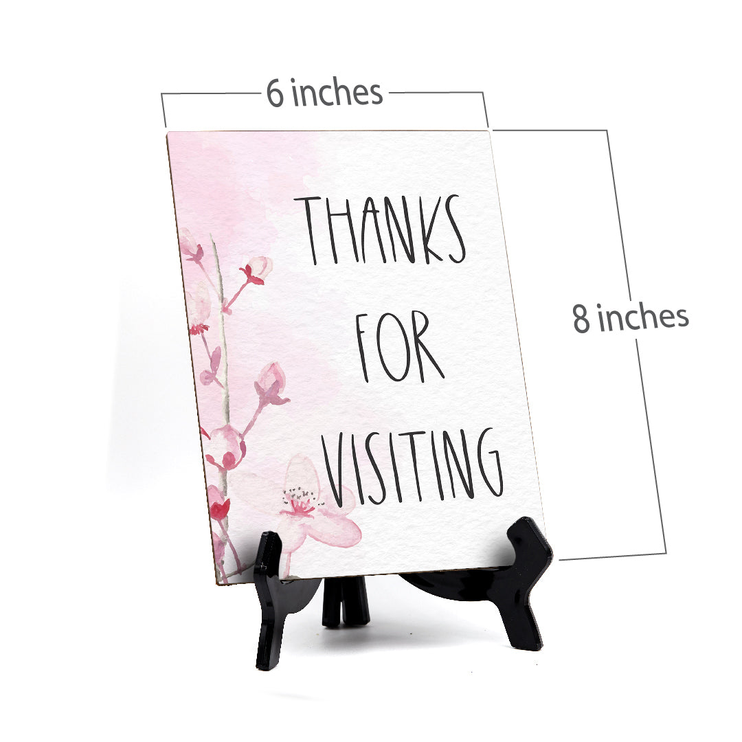 "Thanks For Visiting Table Sign with Easel, Floral Vine Design (6 x 8"")"