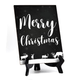"Merry Christmas Sign with Easel, Reindeer Design (6 x 8"")"