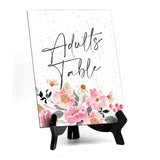 "Adults Table Sign with Easel, Floral Watercolor Design (6"" x 8"")"