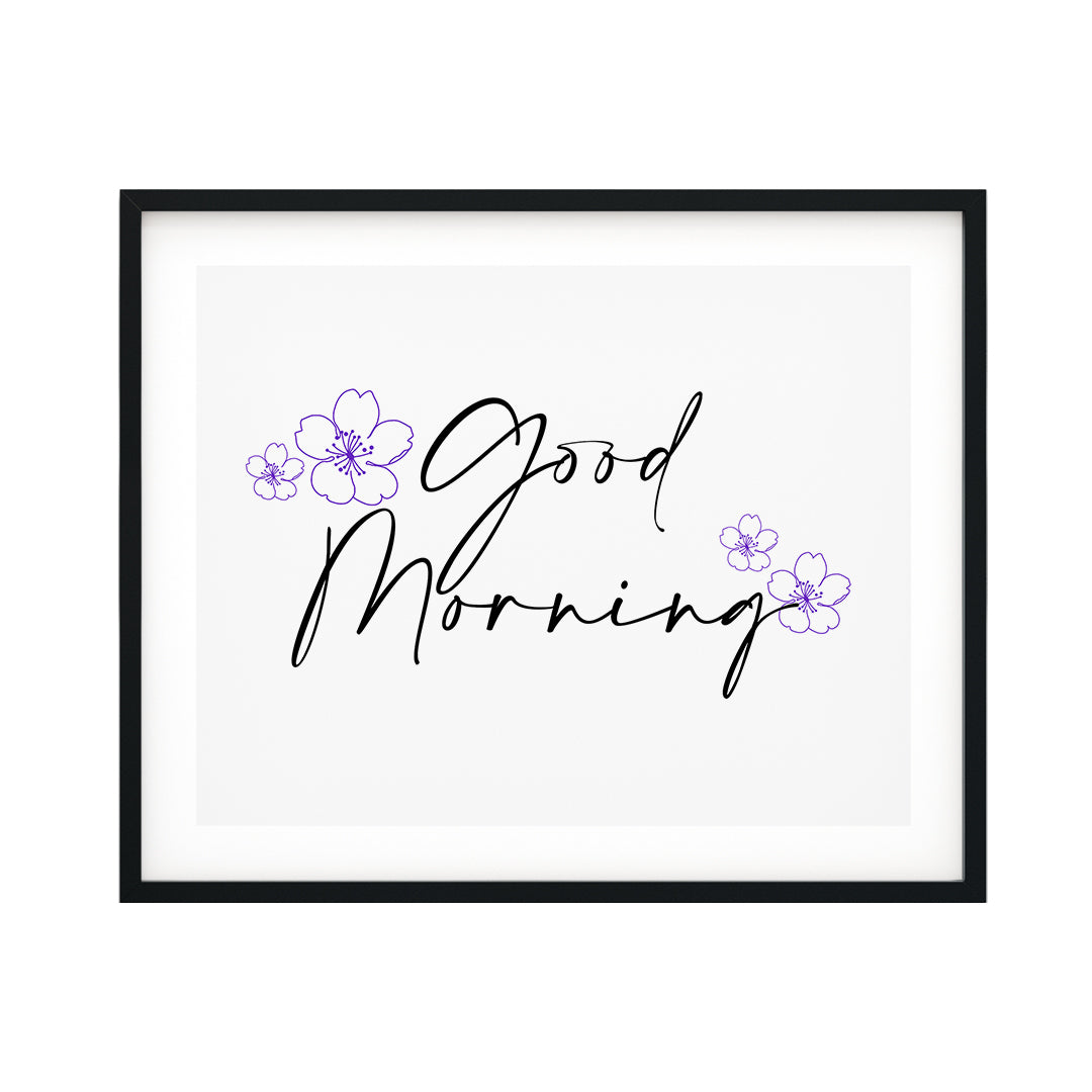 Good Morning UNFRAMED Print Cute Typography Wall Art