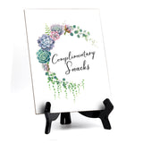 "Complimentary Snacks Table Sign with Easel, Floral Crescent Design (6"" x 8"")"
