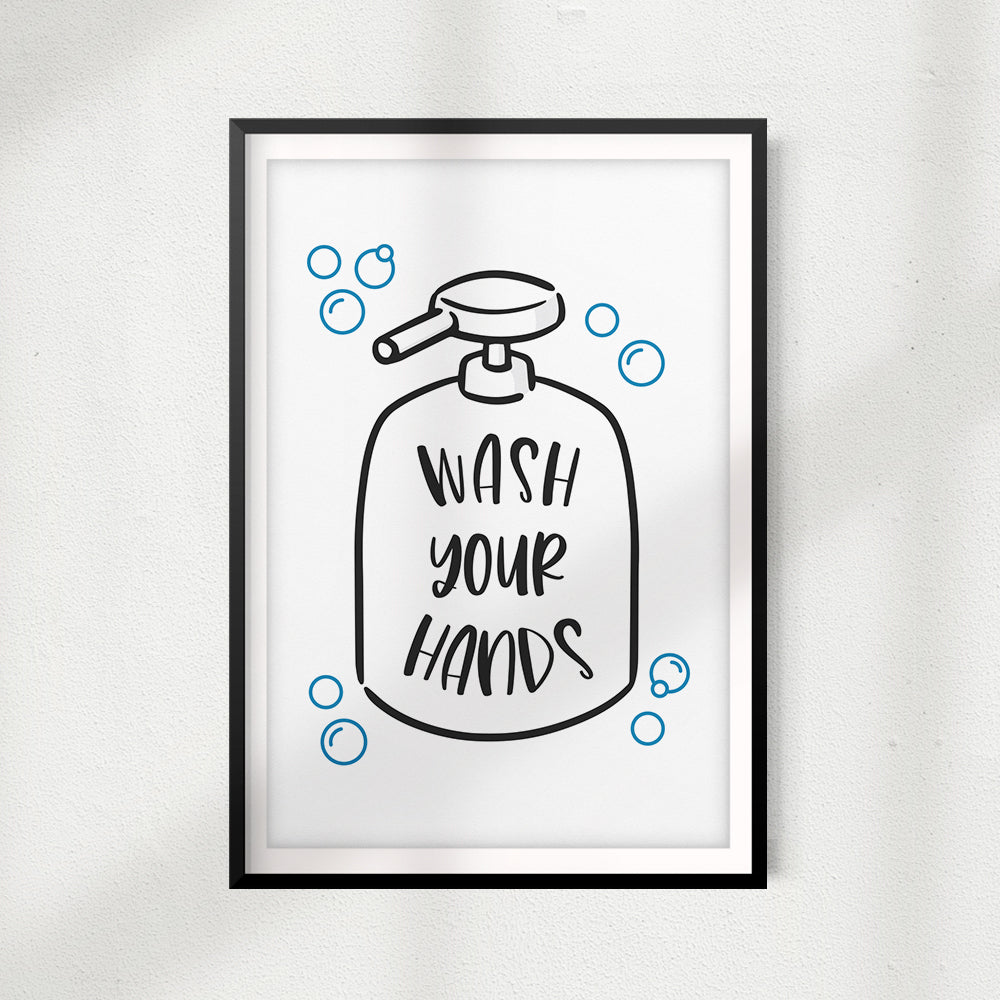 Wash Your Hands UNFRAMED Print Bathroom Décor, Quote Wall Art