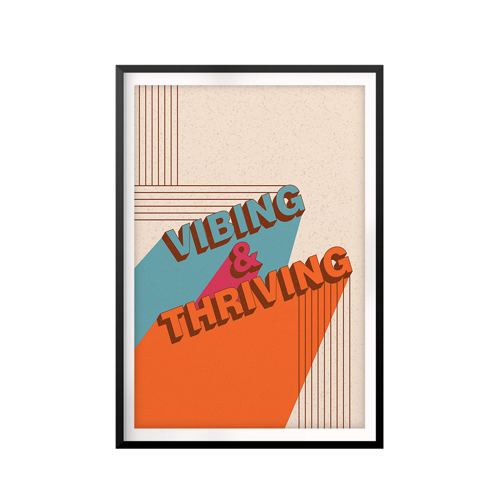 Vibing & Thriving UNFRAMED Print Retro Wall Art