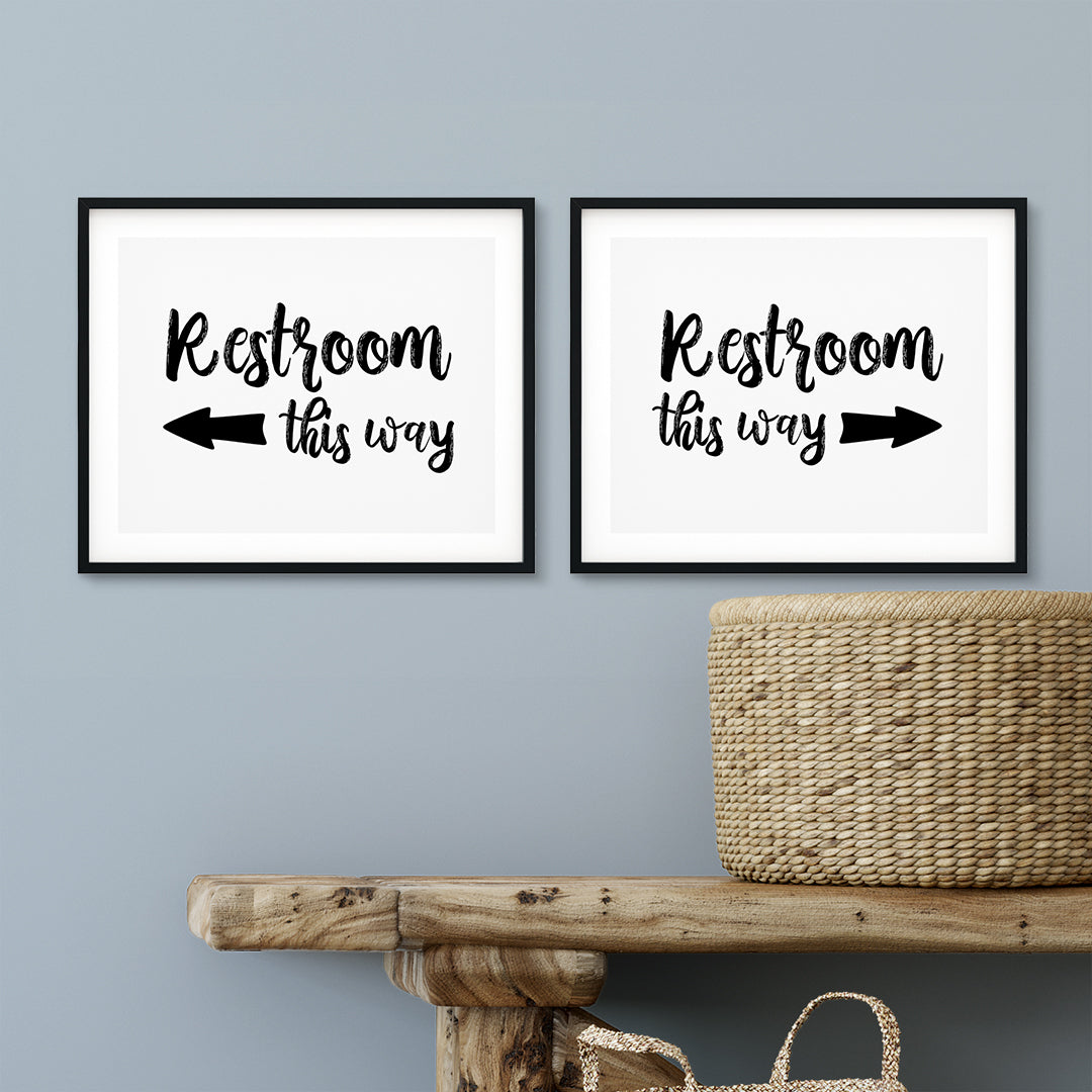 Restrooms Wall Art UNFRAMED Print (2 Pack)