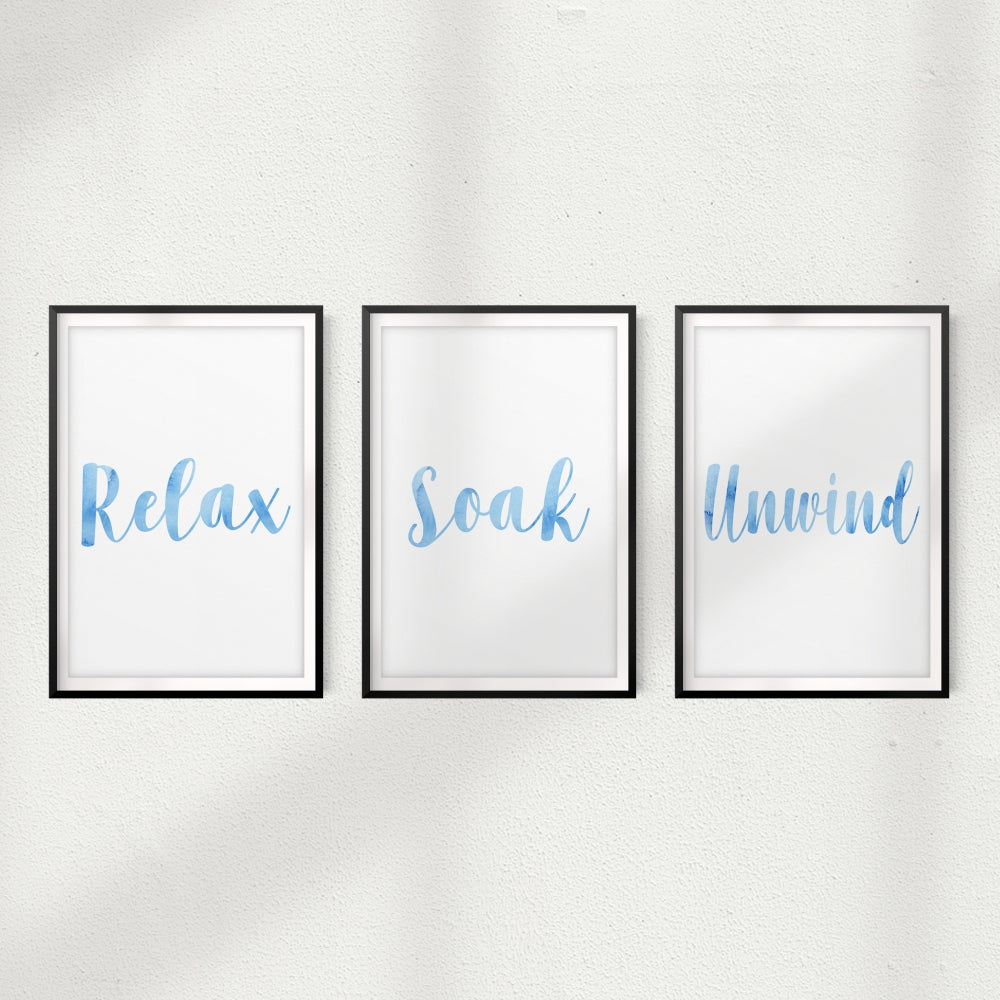 Relax, Soak, Unwind UNFRAMED Prints (Set of 3) Home Décor, Quote Wall Art