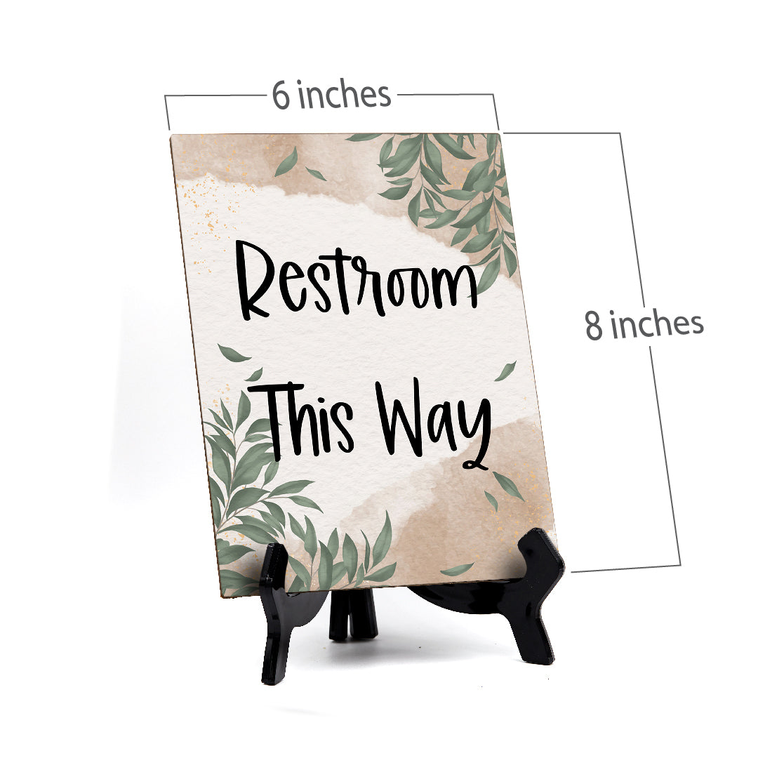 "Restroom This Way Table Sign with Green Leaves Design (6 x 8"")"