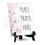 "Place Trays Here Table Sign with Easel, Floral Vine Design (6 x 8"")"