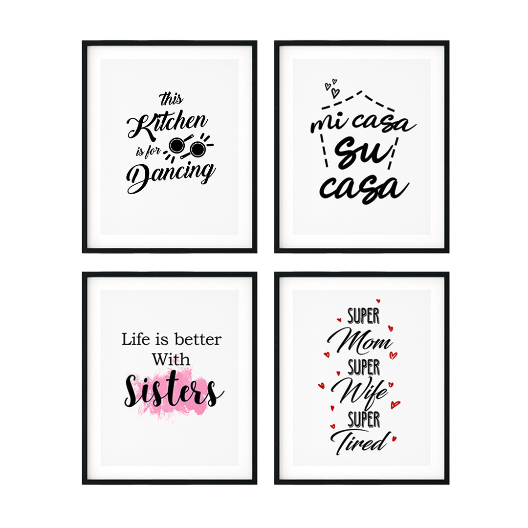 Family & Home Bundle Wall Art UNFRAMED Print (4 Pack)