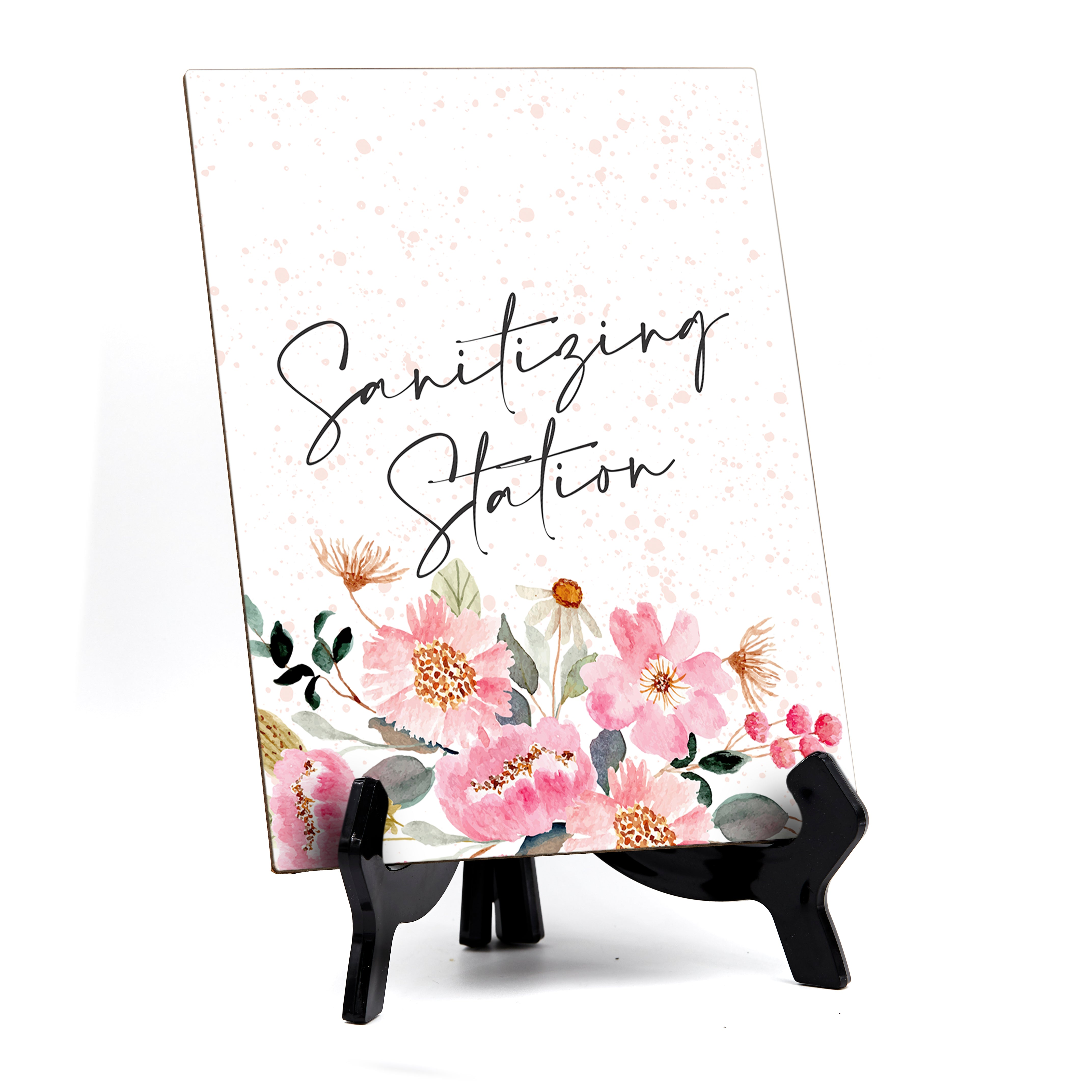 "Sanitizing Station Sign with Easel, Floral Watercolor Design (6"" x 8"")"