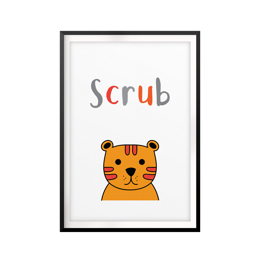 Scrub UNFRAMED Print Kids Bathroom Wall Art