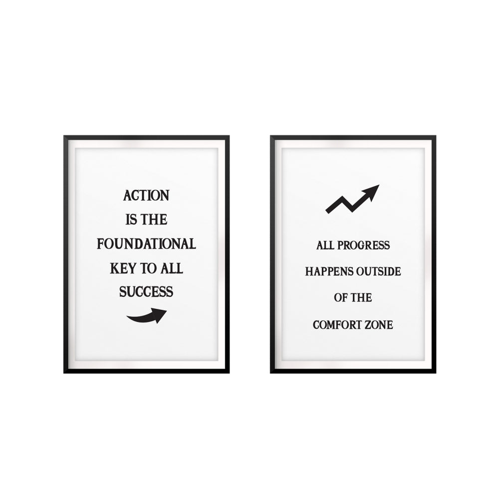 Motivational Quotes Wall Art UNFRAMED Print (2 Pack)