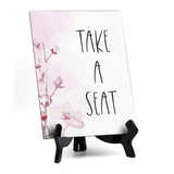 "Take A Seat Table Sign with Easel, Floral Vine Design (6 x 8"")"