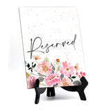 "Reserved Table Sign with Easel, Floral Watercolor Design (6"" x 8"")"
