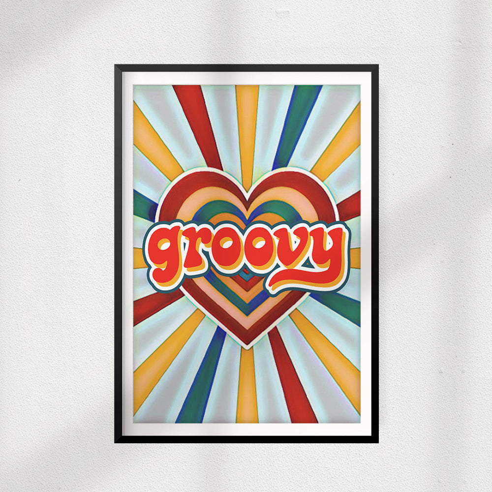 Groovy UNFRAMED Print Retro Wall Art