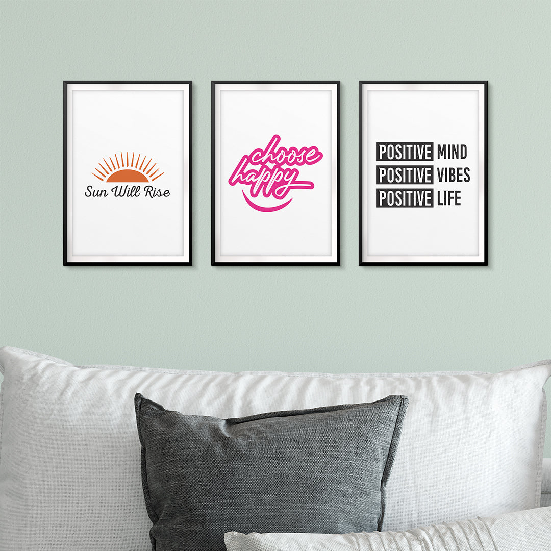 Think Positively Wall Art UNFRAMED Print (3 Pack)