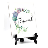 "Reserved Table Sign with Easel, Floral Crescent Design (6"" x 8"")"