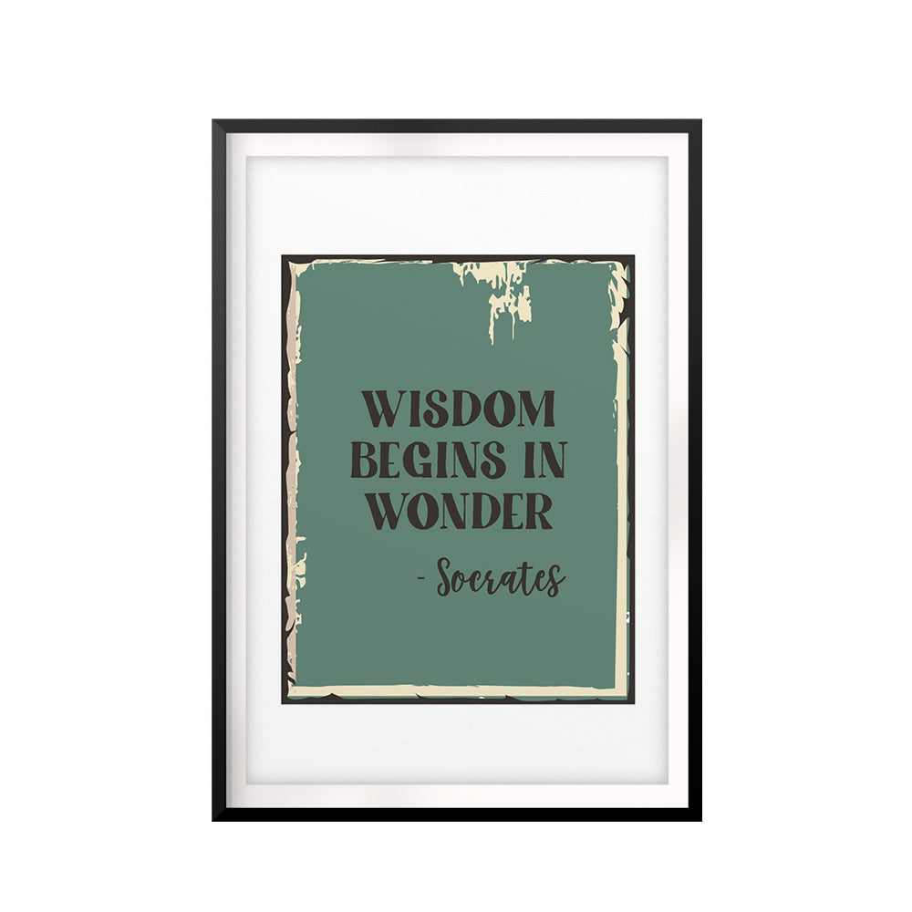 Wisdom Begins In Wonder-Socrates UNFRAMED Print Quote Wall Art