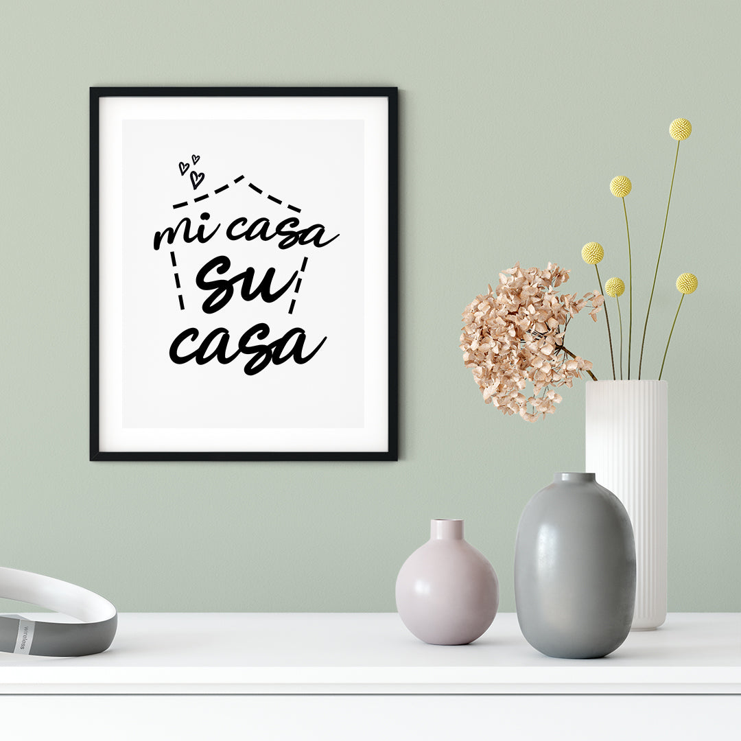 Mi Casa Su Casa UNFRAMED Print Cute Typography Wall Art