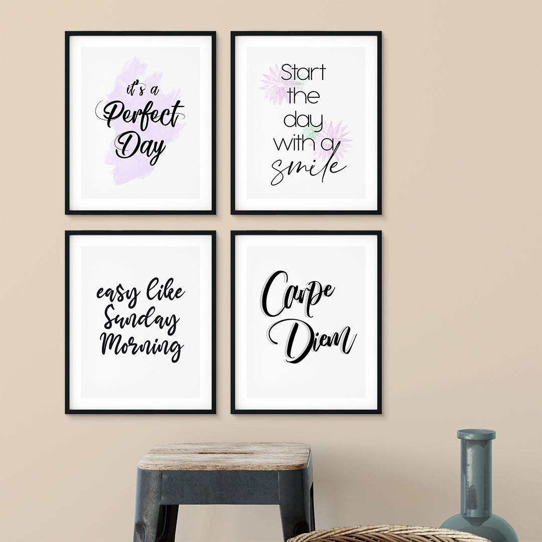 Start the Day Right Wall Art UNFRAMED Print (4 Pack)