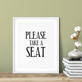 Please Take A Seat UNFRAMED Print Business & Events Decor Wall Art