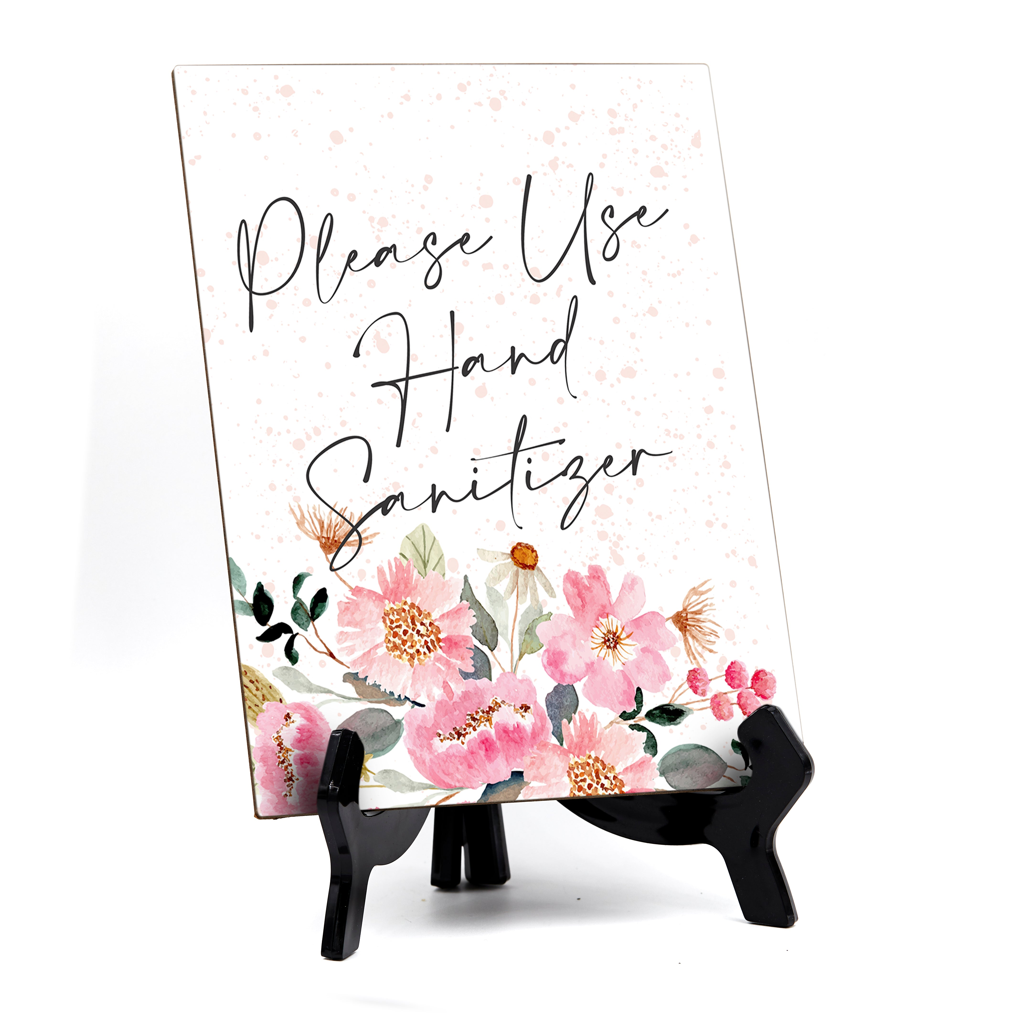 "Please Use Hand Sanitizer Table Sign with Easel, Floral Watercolor Design (6x8"")"