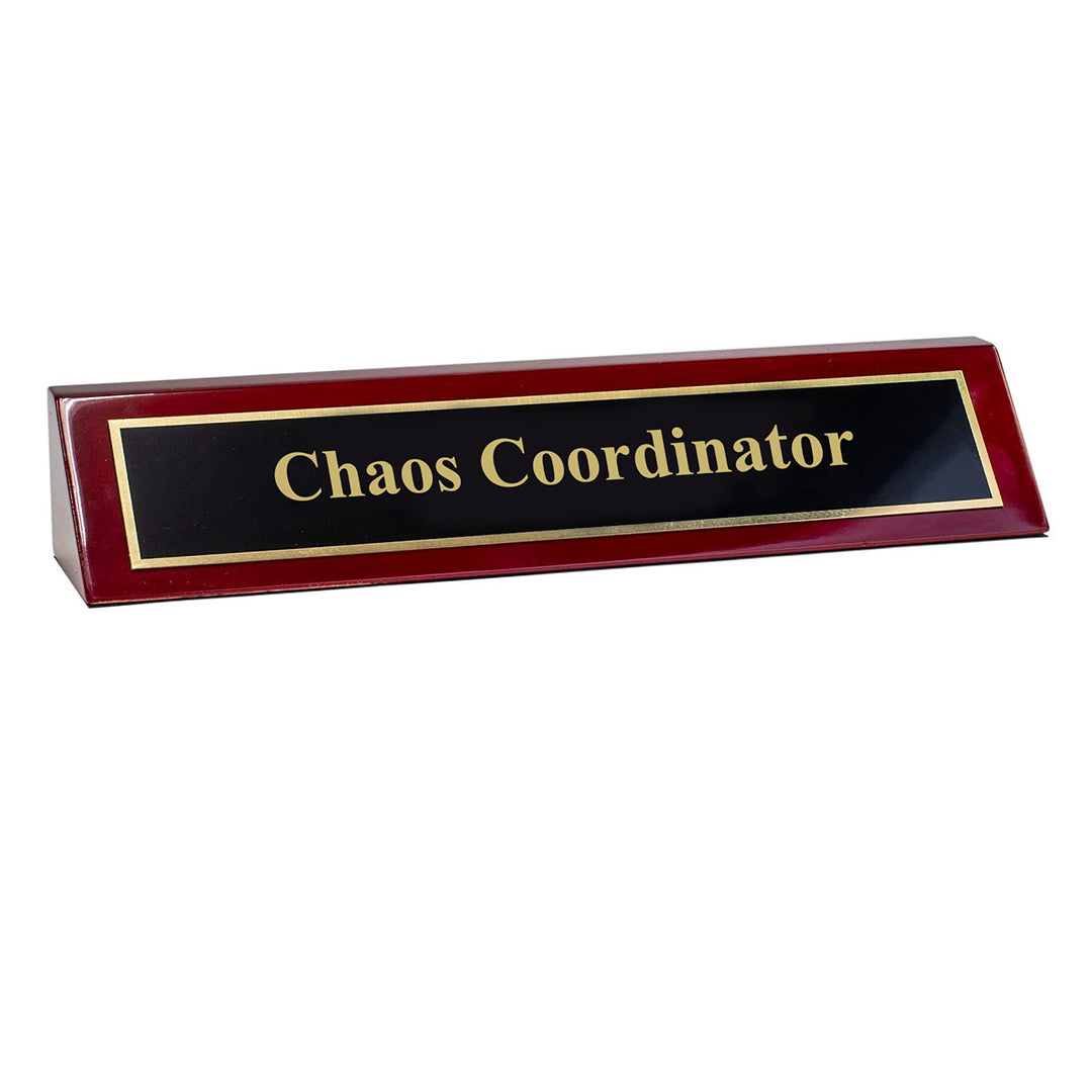 "Piano Finished Rosewood Novelty Engraved Desk Name Plate 'Chaos Coordinator', 2"" x 8"", Black/Gold Plate"