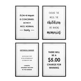 Funny Family Wall Art UNFRAMED Print (4 Pack)