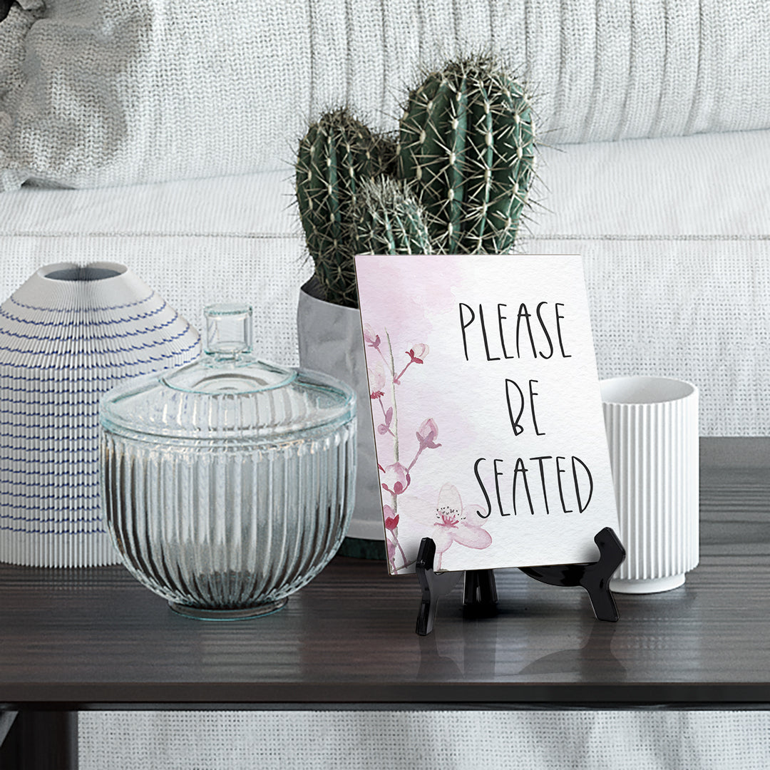 "Please Be Seated Table Sign with Easel, Floral Vine Design (6 x 8"")"