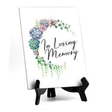 "In Loving Memory Sign with Easel, Floral Crescent Design (6"" x 8"")"